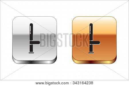 Black Police rubber baton icon isolated on white background. Rubber truncheon. Police Bat. Police equipment. Silver-gold square button. Vector Illustration stock photo