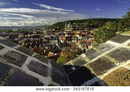 Autumn view of historical buildings and Petrin from the capital city of Prague from the Czech Republic stock photo
