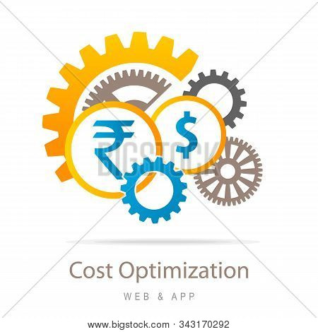 Costs optimization and production efficiency icon, Business and Finance Concept. Dollar and Rupee with Costs optimization. vector illustration stock photo