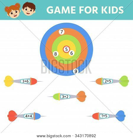 Education logic game for preschool kids. Kids activity sheet. Match of hit the target. Solve an example. Children funny riddle entertainment. stock photo