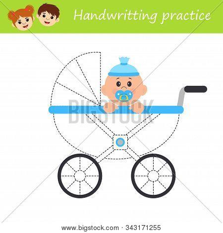 Education logic game for preschool kids. Kids activity sheet. Handwritting practice. Baby. Children funny riddle entertainment. Vector illustration stock photo