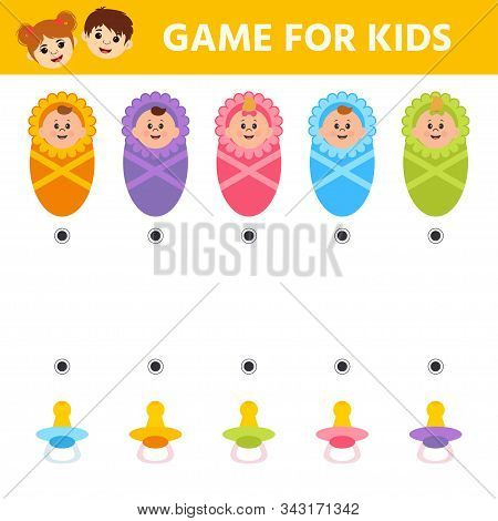 Education logic game for preschool kids. Kids activity sheet. find color matching. Baby. Children funny riddle entertainment. Vector illustration stock photo