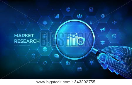 Market research. Marketing strategy concept with magnifier in wireframe hand and icons. Magnifying glass and data analysis infographic. Business technology internet concept. Vector illustration. stock photo