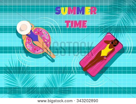 Summer, two beautiful young girls with an inflatable ring and an air mattress relax in the blue pool. African American in the pool. Hello Summer, summer time, summer day, summer day background, summer banners, summer flyer, summer design, summer with peop stock photo