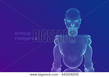 Wireframe female cyborg or robot. Abstract cyber woman. Sci-Fi cybernetic robot with AI. Machine learning and artifactial intelligence technology concept. Digital brain. Vector illustration. stock photo