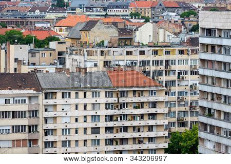 Aerial view residential area Hungarian Budapest with apartment buildings stock photo