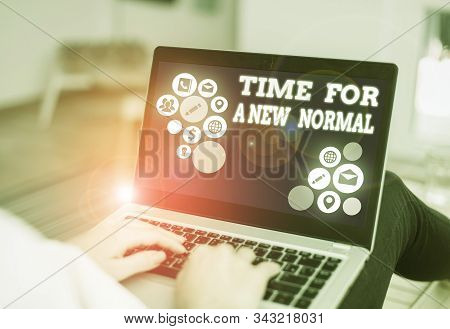 Handwriting text writing Time For A New Normal. Concept meaning Make a big dramatic change Replace the expected. stock photo