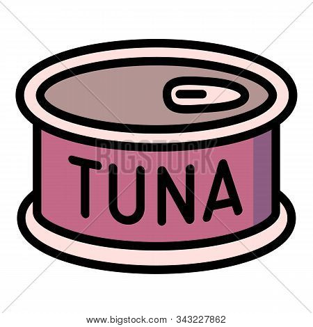 Tuna tin can icon. Outline tuna tin can vector icon for web design isolated on white background stock photo