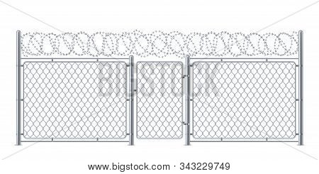 Wire fence or chain link protection with gate or wicket. Chainlink construction for police or prison, military. Chained boundary or enclosure, cage entrance. Steel linkage or barrier, protection theme stock photo