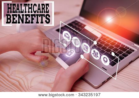 Conceptual hand writing showing Healthcare Benefits. Business photo showcasing use the health services without risk of financial ruin. stock photo