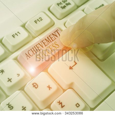 Text sign showing Achievement Success. Conceptual photo status of having achieved and accomplished an aim. stock photo