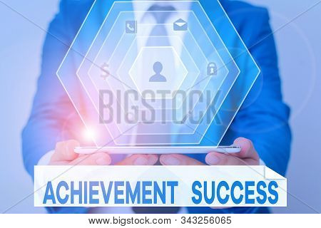 Word writing text Achievement Success. Business concept for status of having achieved and accomplished an aim. stock photo