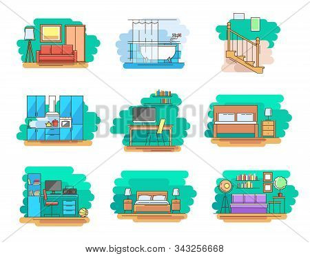 Modern linear pictogram of home room and types furniture. Set of concept line icons home room and types furniture. Home room. Types furniture. Kitchen. Living room. Bedroom. Workplace. Bathroom stock photo