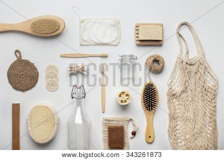 Zero waste, Plastic free. Sustainable lifestyle concept. Assortment of bamboo bath accessories and other eco products, white background stock photo
