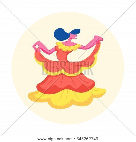 Woman Dancer Wearing Beautiful Dress at Rio Carnival Isolated on White Background. Female Character Wearing Traditional Costume for Brazil Festival Dance Entertainment Cartoon Flat Vector Illustration stock photo