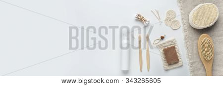 Eco friendly. Bamboo natural accessories for bath and body isolated on white background, wide panorama, copy space stock photo