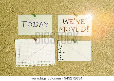 Word writing text We Ve Moved. Business concept for having strong feelings sadness or sympathy has said or done Corkboard color size paper pin thumbtack tack sheet billboard notice board. stock photo