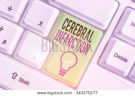 Text sign showing Cerebral Infarction. Conceptual photo focal brain necrosis due to complete and long ischemia. stock photo