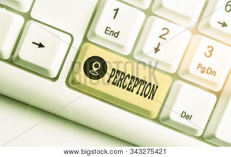 Text sign showing Perception. Conceptual photo individuals organize and interpret their sensory impressions. stock photo