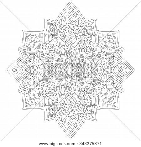 Beautiful monochrome linear illustration for adult coloring book page with abstract pattern on the white background stock photo