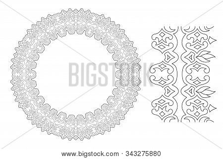 Beautiful monochrome cliparts for adult coloring book page with abstract linear round border pattern and paint brush isolated on the white background stock photo