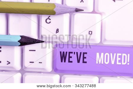 Conceptual hand writing showing We Ve Moved. Business photo showcasing having strong feelings sadness or sympathy has said or done. stock photo