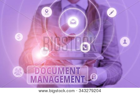 Conceptual hand writing showing Document Management. Business photo text Computerized analysisagement of electronic documents. stock photo
