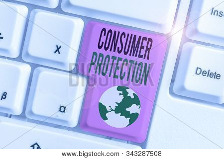 Handwriting text Consumer Protection. Concept meaning regulation that aim to protect the rights of consumers. stock photo