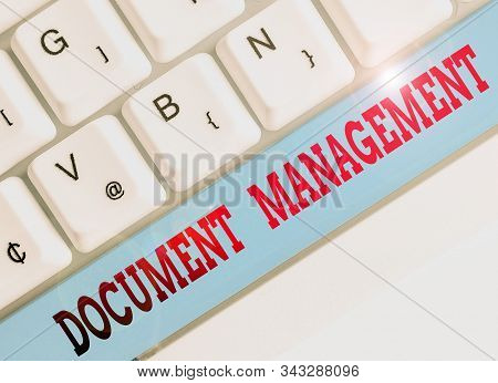 Text sign showing Document Management. Conceptual photo Computerized analysisagement of electronic documents. stock photo