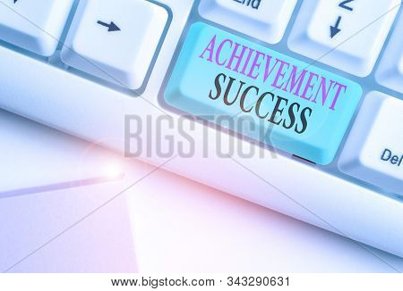 Conceptual hand writing showing Achievement Success. Business photo showcasing status of having achieved and accomplished an aim. stock photo