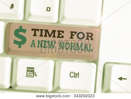 Handwriting text Time For A New Normal. Concept meaning Make a big dramatic change Replace the expected. stock photo