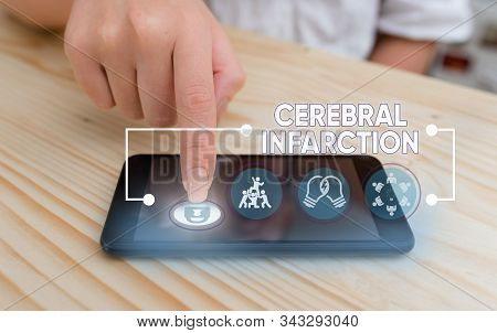 Word writing text Cerebral Infarction. Business concept for focal brain necrosis due to complete and long ischemia. stock photo