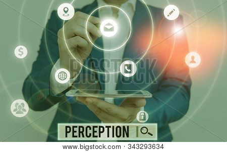 Handwriting text writing Perception. Concept meaning individuals organize and interpret their sensory impressions. stock photo
