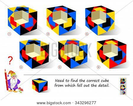 Logic puzzle game for smartest. Find the correct cube from which fell out the detail. Printable page for brain teaser book. Developing 3D spatial thinking skills. IQ training test. Vector image. stock photo