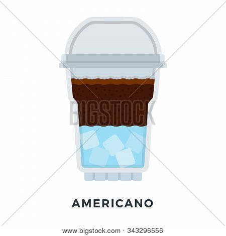 Americano ice coffee in a clear plastic glass vector flat isolated stock photo