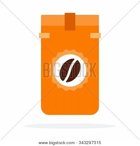 Light new england roast coffee beans in the package vector flat isolated stock photo