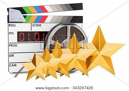 5 golden Stars Film Rating concept. 3D rendering stock photo
