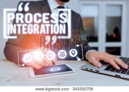 Text sign showing Process Integration. Conceptual photo sharing of data and events between business processes. stock photo