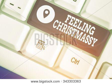 Writing note showing Feeling Christmassy. Business photo showcasing Resembling or having feelings of Christmas festivity. stock photo