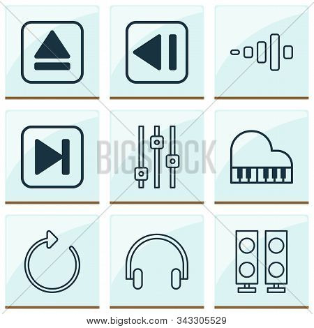 Multimedia icons set with headphone, fast forward song, equalizer and other reload elements. Isolated vector illustration multimedia icons. stock photo