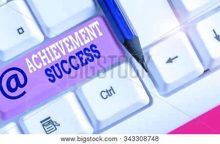 Conceptual hand writing showing Achievement Success. Business photo text status of having achieved and accomplished an aim. stock photo