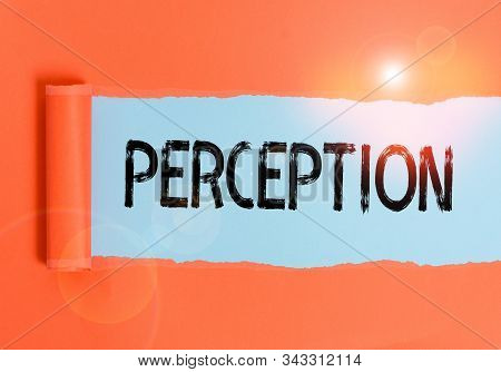 Text sign showing Perception. Conceptual photo individuals organize and interpret their sensory impressions Cardboard which is torn in the middle placed above a plain table backdrop. stock photo