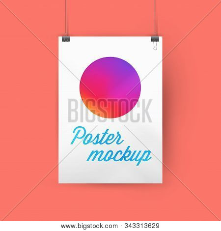 A4, A3 or A2 size ratio poster mockup, paper frame hanging with paper clips. Gradient circle template. Faded orange background. Soft shadows. Vector illustration stock photo