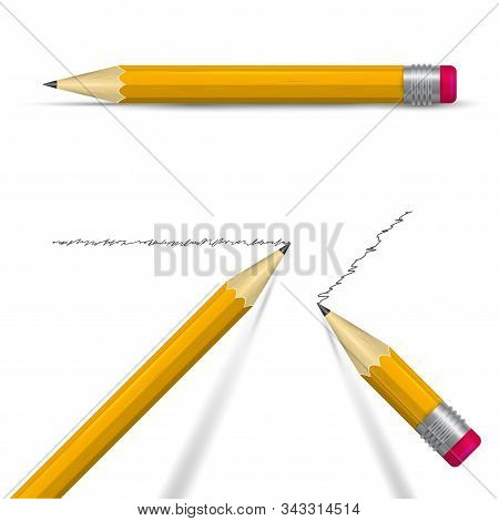 Writing realistic 3D vector pencil set. Sharpened orange pencils with eraser. Two tipped pencils with shadows and one pencil lying on its side. stock photo