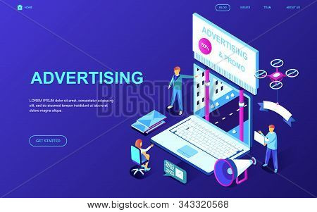 Modern flat design isometric concept of Advertising and Promotion decorated people character for website and mobile stock photo