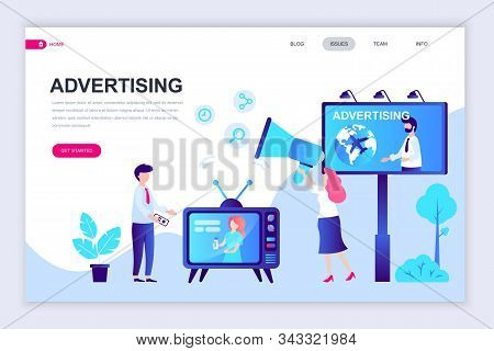 Modern flat web page design template of Advertising decorated people character for website and mobile website stock photo