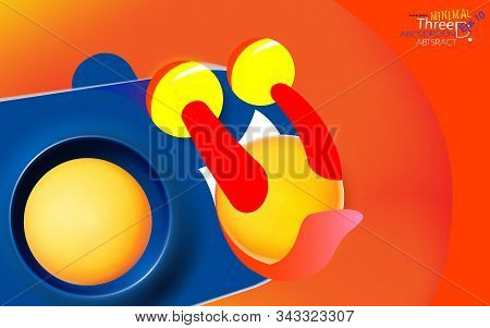 Abstract orange-red color background with blue personage, licking yellow balls. Modern trendy banner or poster design. Tasty 3d spheres, plastic yellow bubbles. Vector illustration. Eps 10. stock photo