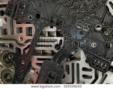 car automatic transmission machine closeup mechanism labyrinth abstract stock photo