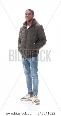 casual guy in jeans and autumn jacket . isolated on white stock photo