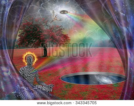 Man meditates in lotus pose. All seeing eye and angel in the sky above surreal landscape. 3D rendering stock photo